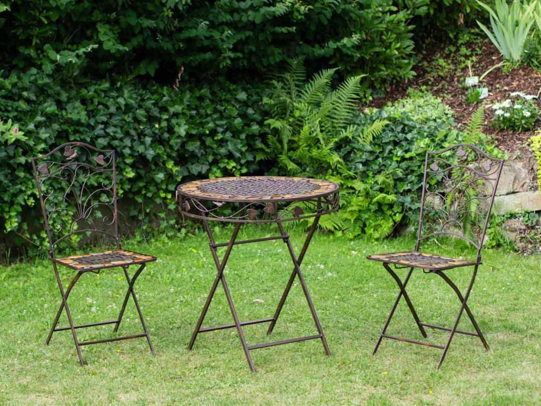 aubaho Mesa y 2 sillas de Hierro Forjado de Hierro Muebles de jardín de Piedra marrón: Amazon.es: Jardín