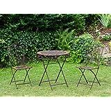 Gartentisch und 2 Stühle Eisen Schmiedeeisen antik Stil Gartenmöbel braun Stein