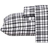 Ruvanti 100% Cotton 4 Piece Flannel Sheets Queen Black White Plaid Deep Pocket -Warm-Super Soft - Breathable Moisture Wicking