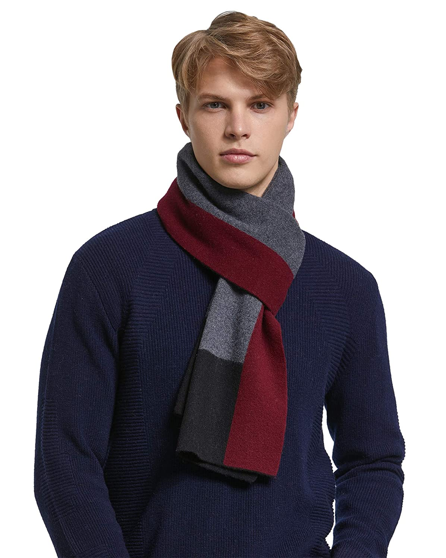 RIONA 100% Australian Merino Wolle Herren Schal Winter Business Stripe Langschal Weiches Warmes mit Geschenkbox RIW9209-Black