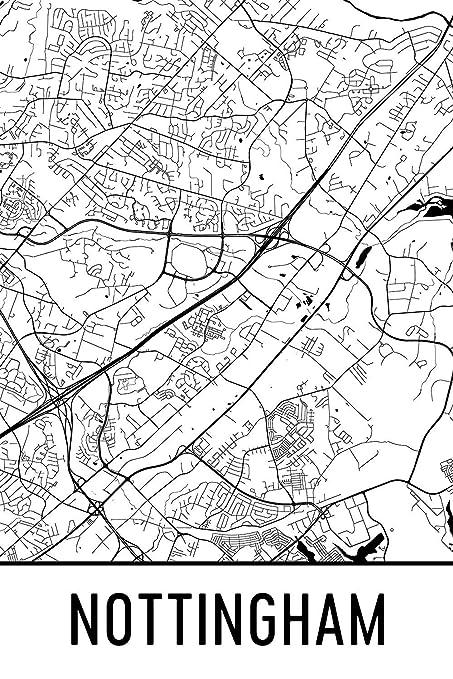 Amazon Com Nottingham Print Nottingham Art Nottingham Map