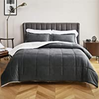 3-Piece Bedsure Sherpa Micromink Fleece Dark Gray Comforter Set (Queen)