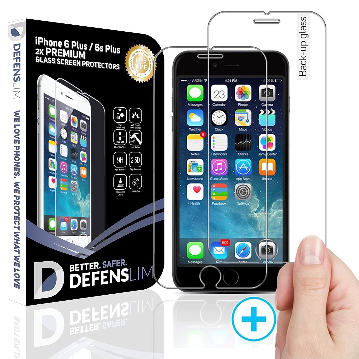 Witkeen Ultra-Clear HD Tempered Glass Protector for iPhone 6 Plus / 6s Plus (Pack of 2)