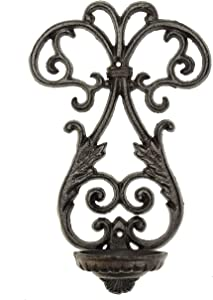 Sungmor Cast Iron Wall Hanging Sconce Tealight Pillar Candlesticks Holder - Vintage Simple Style Emblem Shape Home Candle Display Holder - Handmade Art Candle Stand Decor for Indoor Outdoor