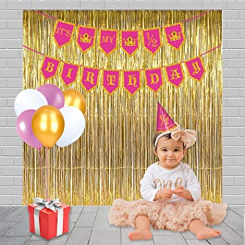 Party PropzR Girls Half Birthday Decoration Combo Including 1 Banner 25 Balloons Pic Cap And 3 Golden Foil Curtain Amazonin Toys Games