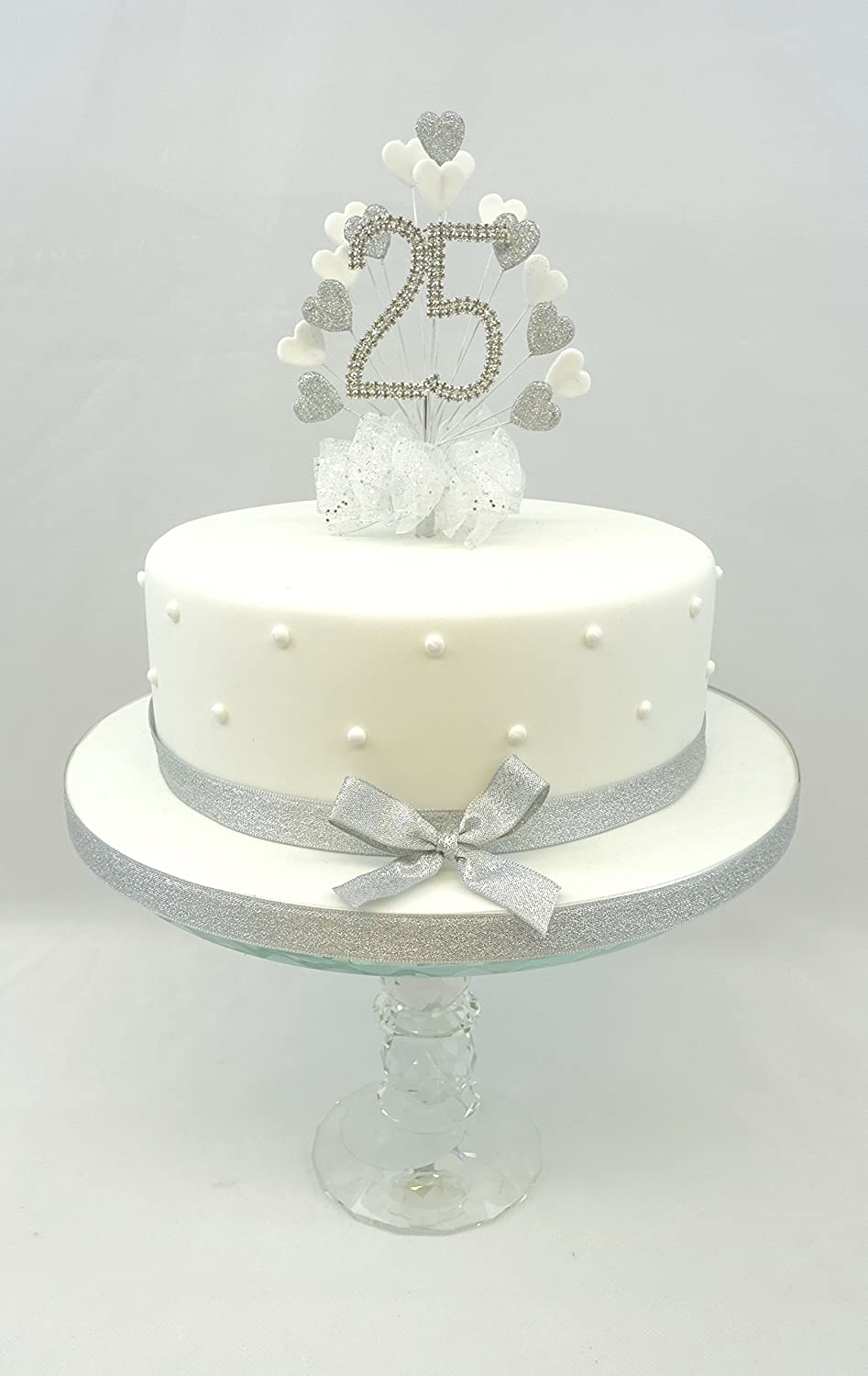 Cake Decoration 25th Silver Wedding Anniversary Diamante Number Cake Topper Heart With Matching Ribbon Pack Amazon Co Uk Grocery