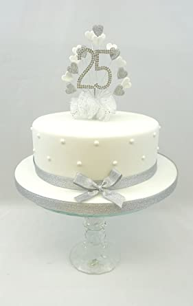 CAKE DECORATION 25th SILVER WEDDING ANNIVERSARY DIAMANTE NUMBER TOPPER HEART WITH MATCHING RIBBON PACK