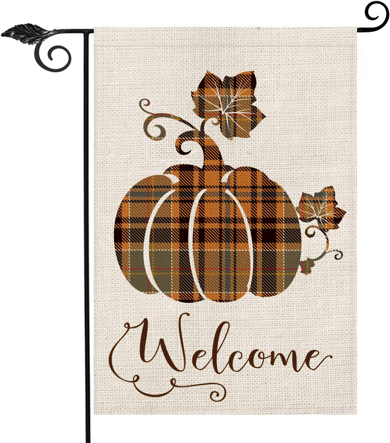 AVOIN Fall Buffalo Check Plaid Pumpkin Garden Flag Vertical Double Sided Welcome Quote, Seasonal Autumn Vintage Thanksgiving Rustic Burlap Yard Outdoor Decoration 12.5 x 18 Inch