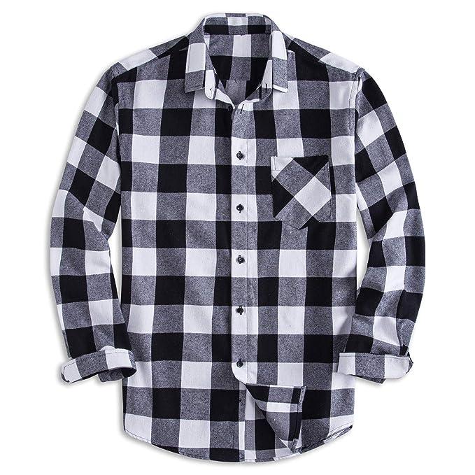 Pizz Annu Men's 100 Percents Cotton Long Sleeve Plaid Fleece Shirt Button Up Flannel Shirt by Pizz Annu