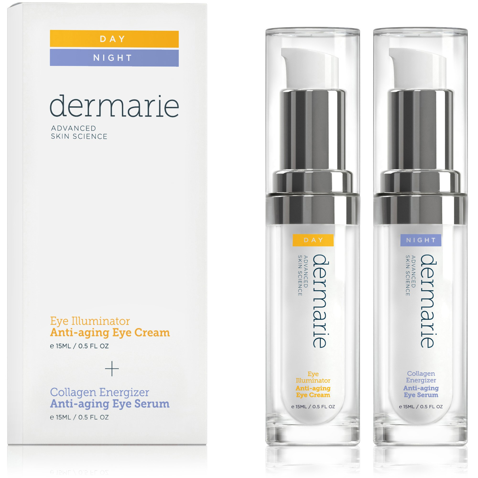 Dermarie Illuminator Eye Cream & Collagen Energizer Eye Serum Anti-aging Treatment Set, 0.5 oz. / 15 g