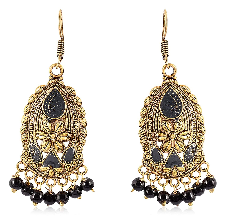 Subharpit Black Pearl Golden Metal Non Precious Indian Ethnic Tratitional Dangle