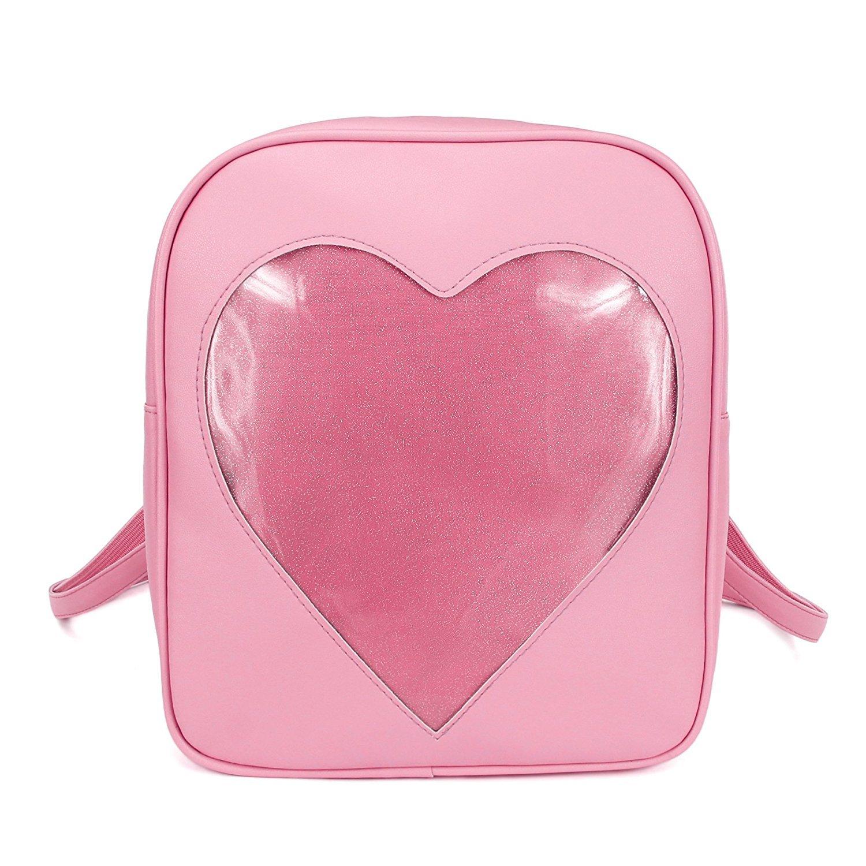 Girls Kawaii Bling Transparent Love Star School Bag Backpack (Pink)