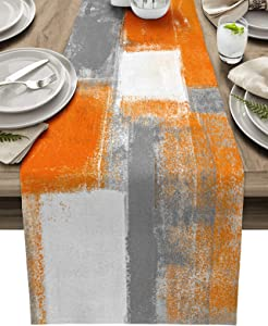 Burnt Orange Table Runner Farmhouse Rectangle Dresser Table Scarves Grey Abstract Art Non-Slip Runners for Dining Table Thanksgiving Fall Dinner Runners Holiday Parties Kitchen Decor, 13x70 inch
