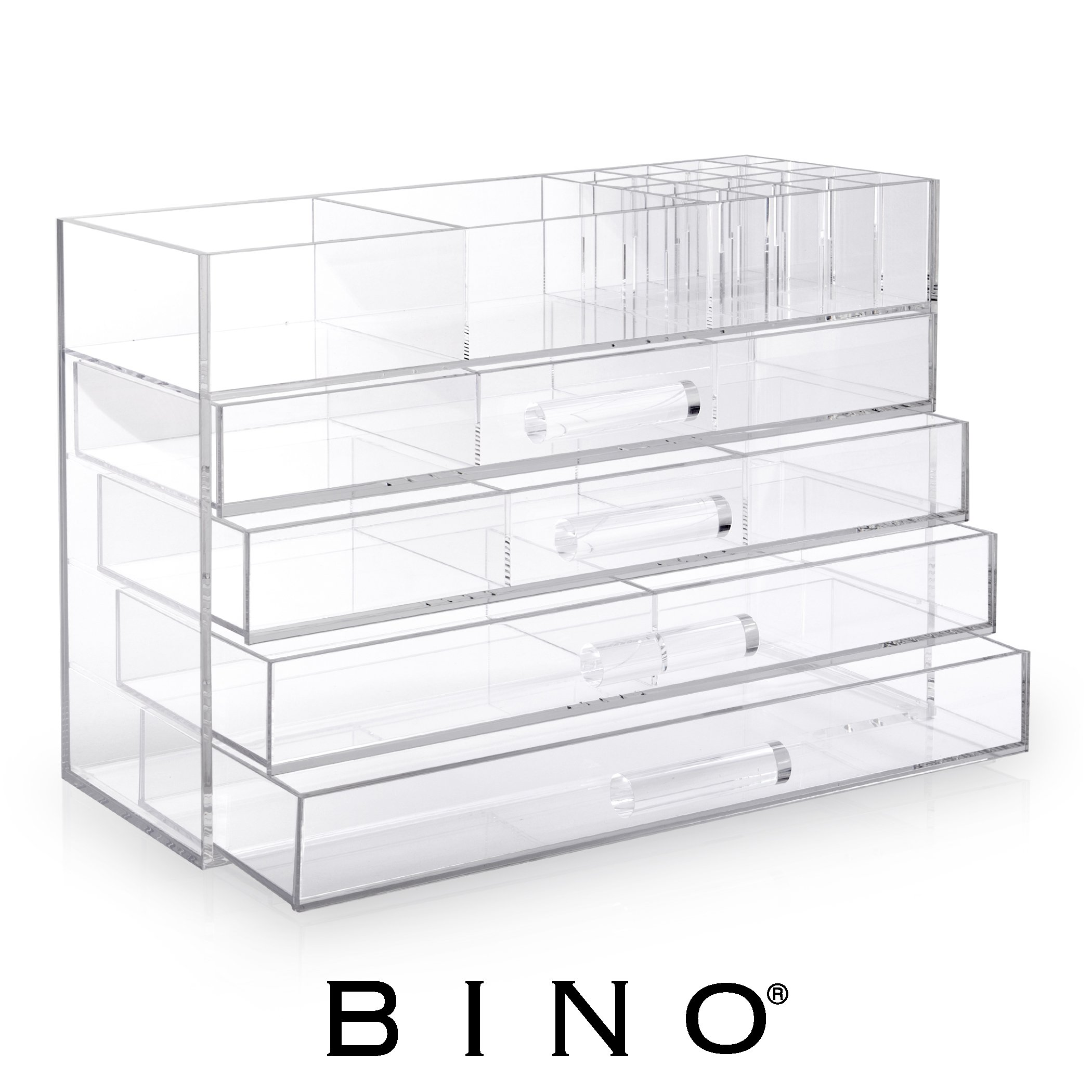 BINO Acrylic Jewelry and Makeup Chest Organizer with 4 Divided Removable Drawers and Lipstick Storage - Clear and Transparent Big 5-Tier Cosmetic Storage Display Box Case