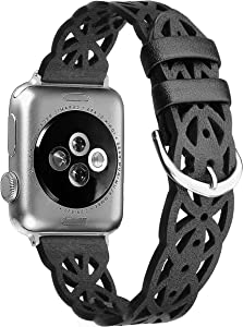 Secbolt Hollowed-Out Leather Band 42mm 44mm Compatible with Apple Watch Bands iWatch Series 6/SE/5/4/3/2/1, Elegant Top-Grain Leather Wristband Strap Accessories for Women, Black