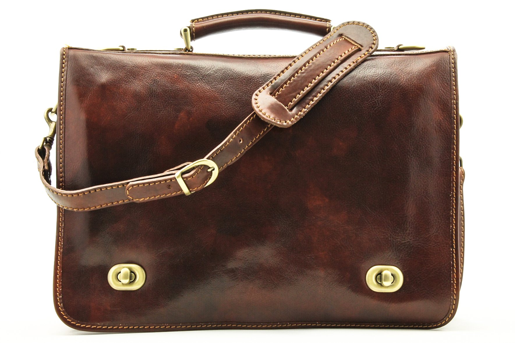 Alberto Bellucci Mens Italian Leather Nevio Double Compartment Laptop Messenger Bag in Brown