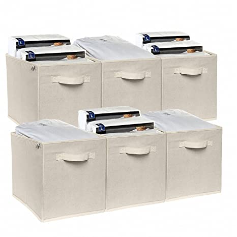 Attrayant Foldable Cloth Storage Cubes 6 Pack By Deneve   Best Fabric Basket Bins  Shelves