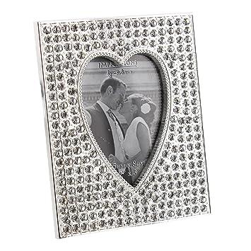 Juliana Small Sparkly Crystal Bling Heart Shaped Photo Frame
