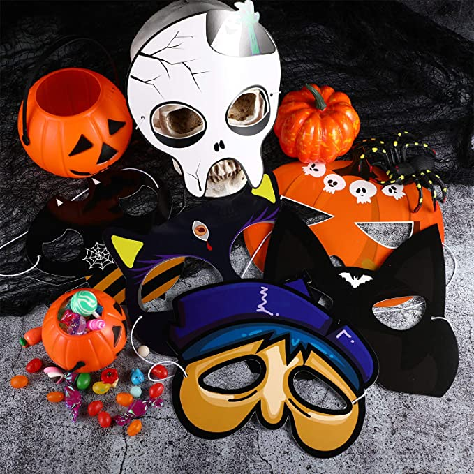 32 Pieces Halloween Mask Cartoon Costume Mask Masquerade Face Mask DIY Halloween Mask Craft Kit for Halloween Costume Party Supplies