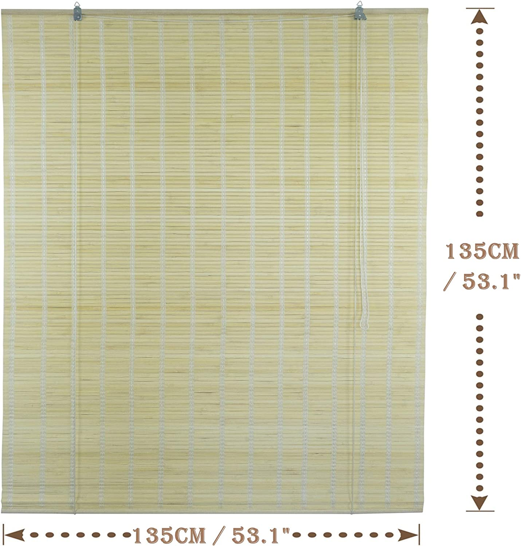 Solagua 6 Modelos 14 Medidas de estores de bambú Cortina de Madera persiana Enrollable (135 x 135 cm, Natural)