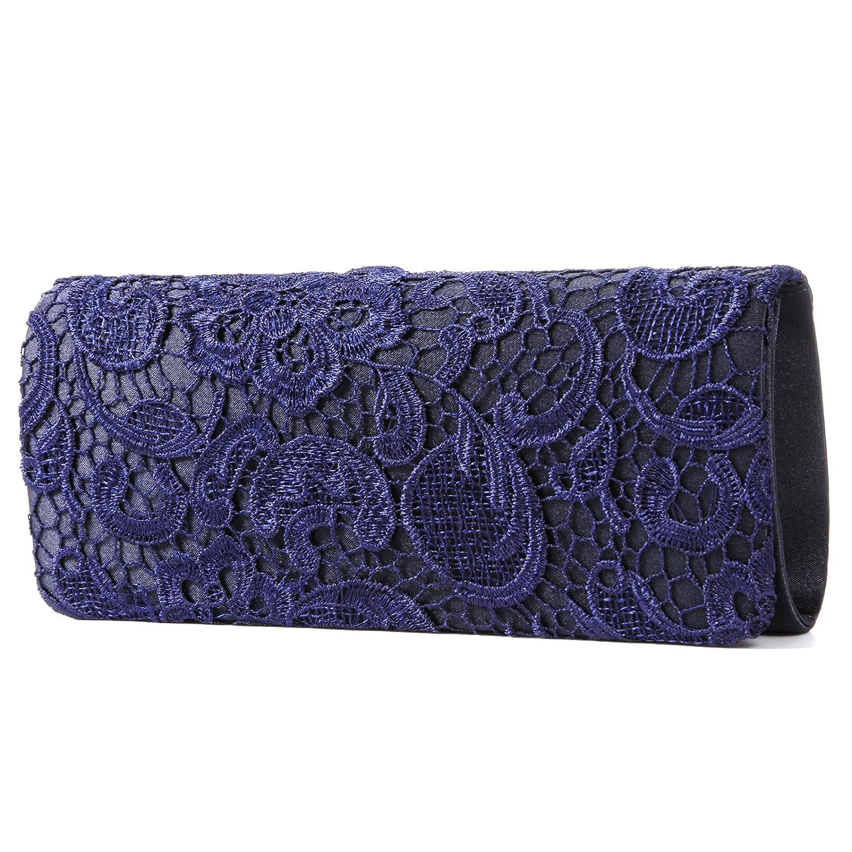 Luxus Spitze Damen Clutch Abendtasche Damentasche Handtasche Brauttasche mit Kette (weiss/schwarz/blau) bg272