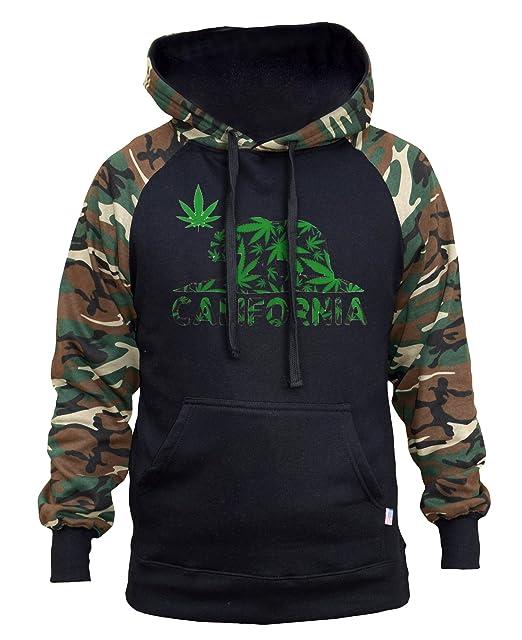 Amazon.com: De los hombres Weed California oso Bandera Negro ...