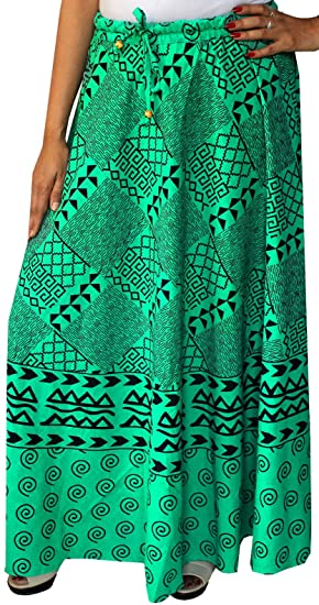 7e089bb7d Image Unavailable. Image not available for. Color: Women Printed Cotton  Long Skirt India Clothes (Green). Roll over image to zoom in. Maple Clothing