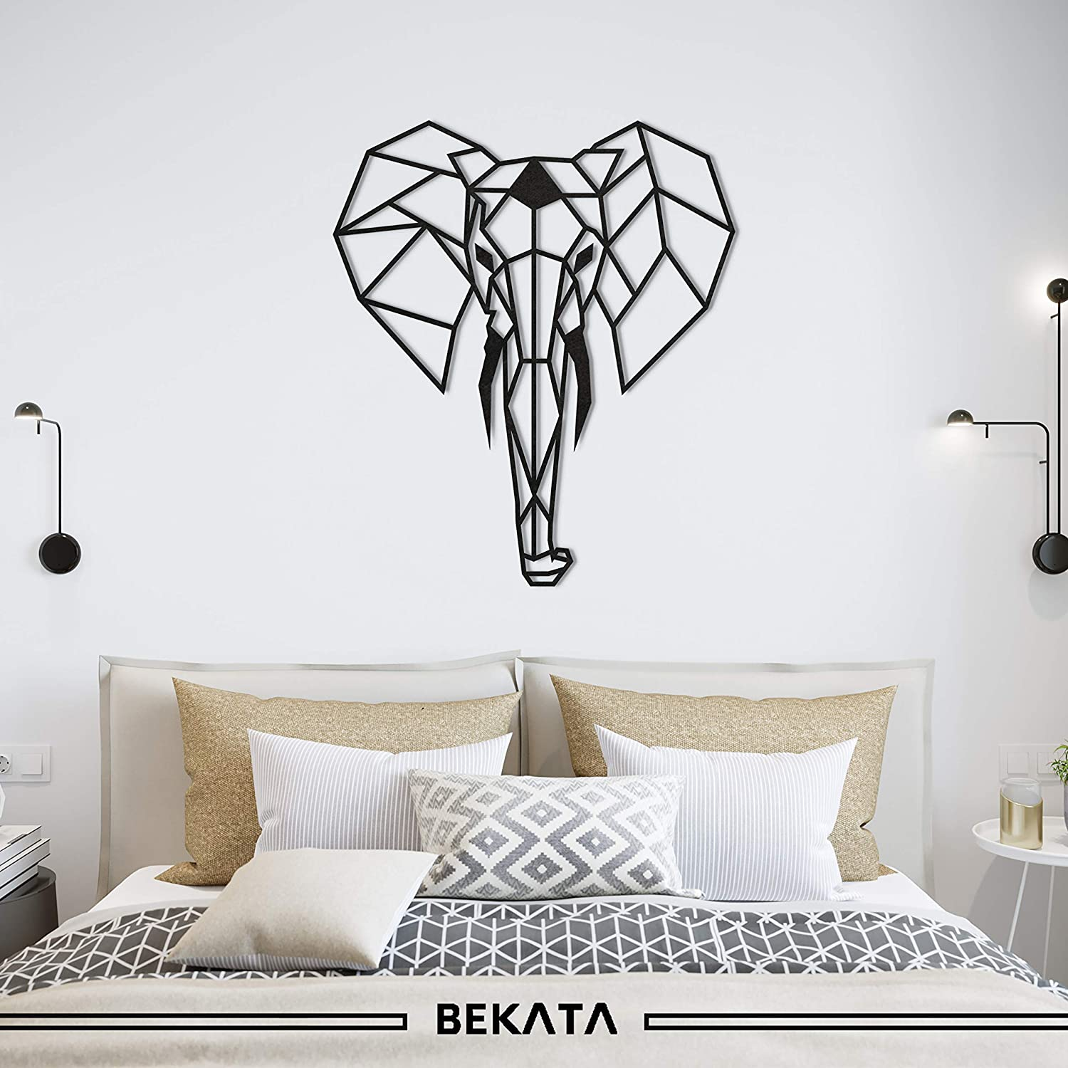 Bekata Geometric Elephant Head Metal Wall Art Metal Wall Decoration for Home Office Living Room Bedroom Small Size: 17,71 x 21 inches 45 x 53 cm