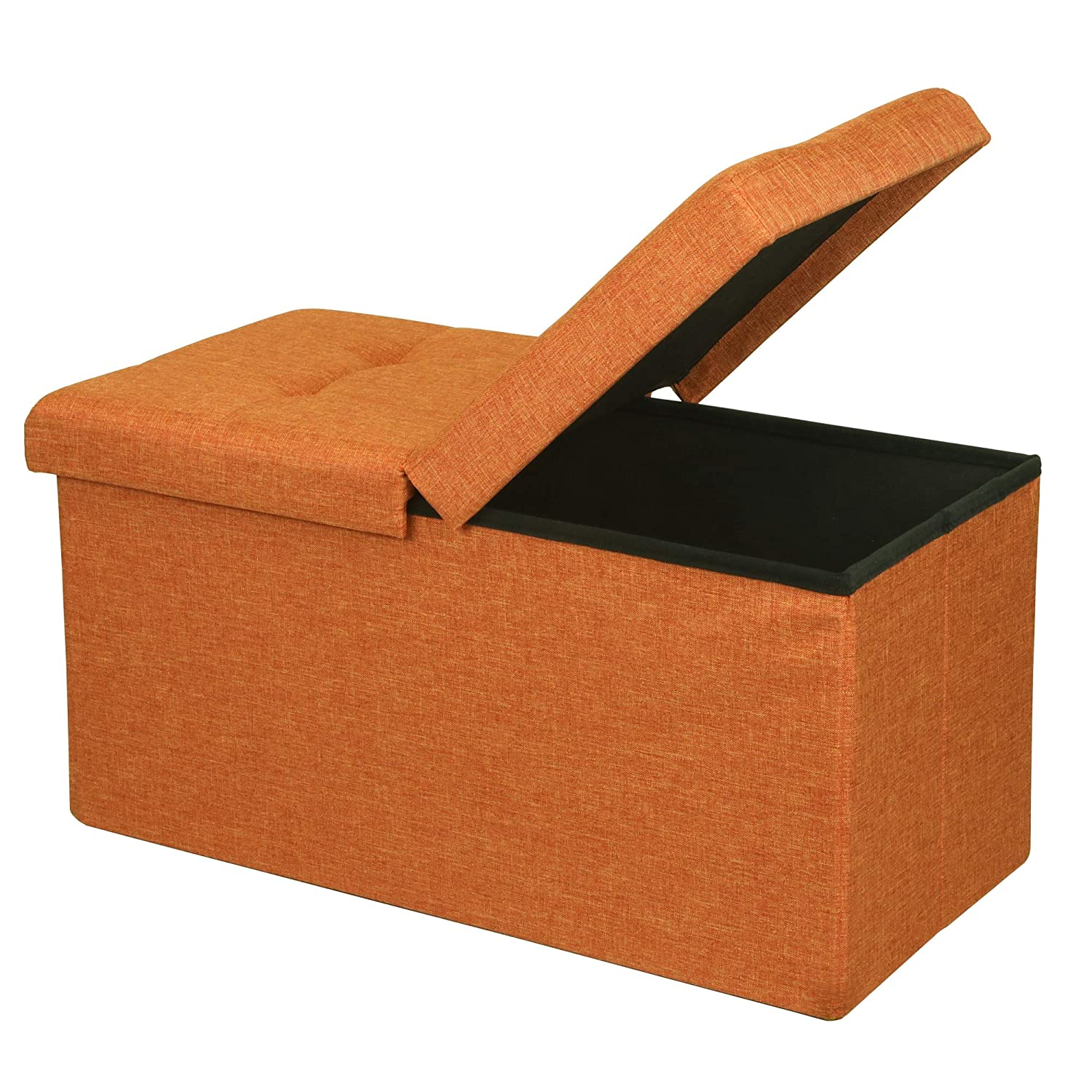 """Otto & Ben 30"""" Storage Ottoman - Folding Toy Box Chest with SMART LIFT Top, Upholstered Tufted Ottomans Bench Foot Rest for Bedroom, Amber Orange"""