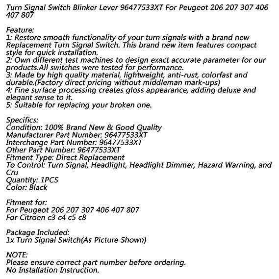 Interruptor de combinaci/ón de luz intermitente 96621668XT para 206 207 307 406 407 807 1007