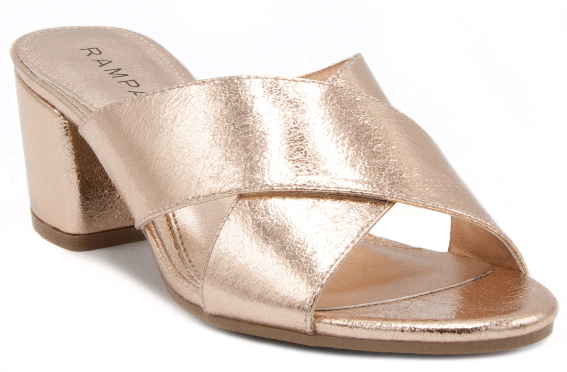 Rampage Women's Hannie Heeled Cross Banded Slide Sandal 8 Rose Gold Foil