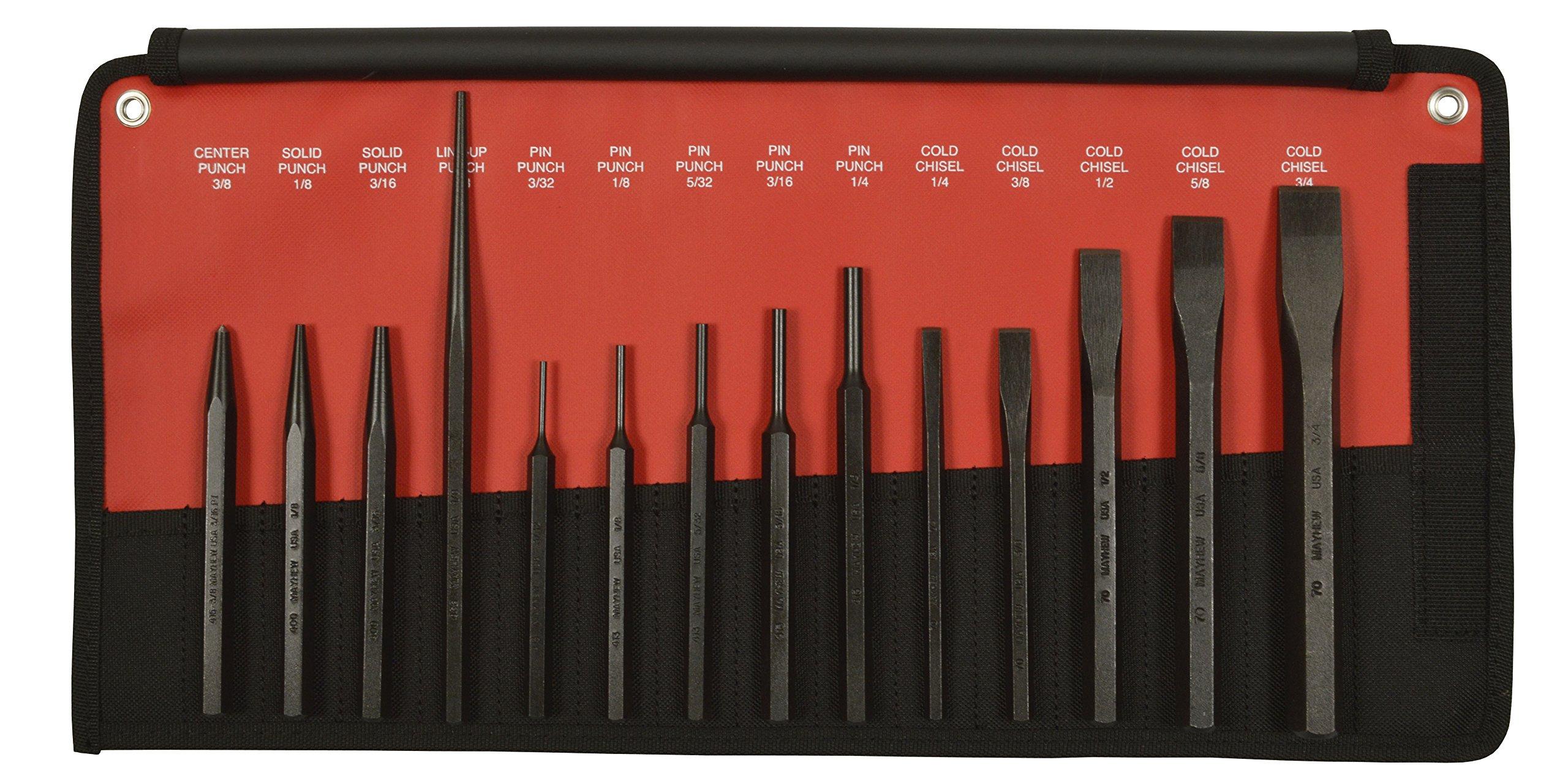 Mayhew Pro 61044 Punch and Chisel Kit, 14-Piece