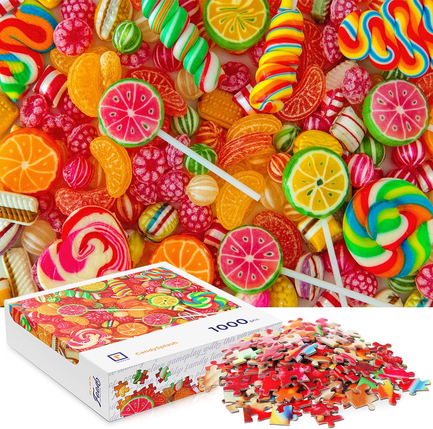 """Jigsaw Puzzles 1000 Pieces for Adults - 27"""" x 20"""" Candy Puzzle - Premium Quality Puzzle Pieces, Vivid Color & Large Reference Poster - Fun Family Game or Educational Toy Gift"""