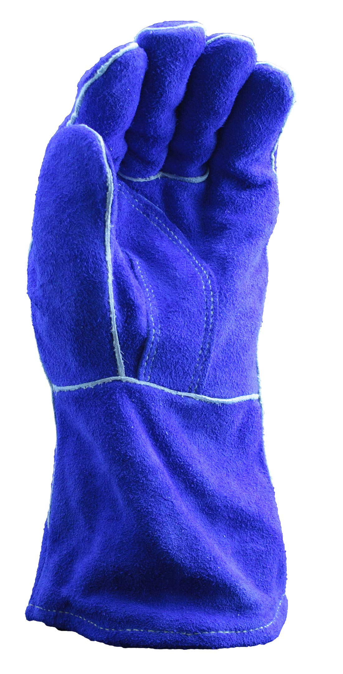 Blue Premium Leather Welders Gloves | Slip On Cuff, 14'' Length, Cotton/Foam Lining, Welted Seam, Kevlar Stitching Material - Small (Pack of 12) by Stauffer Glove & Safety (Image #2)