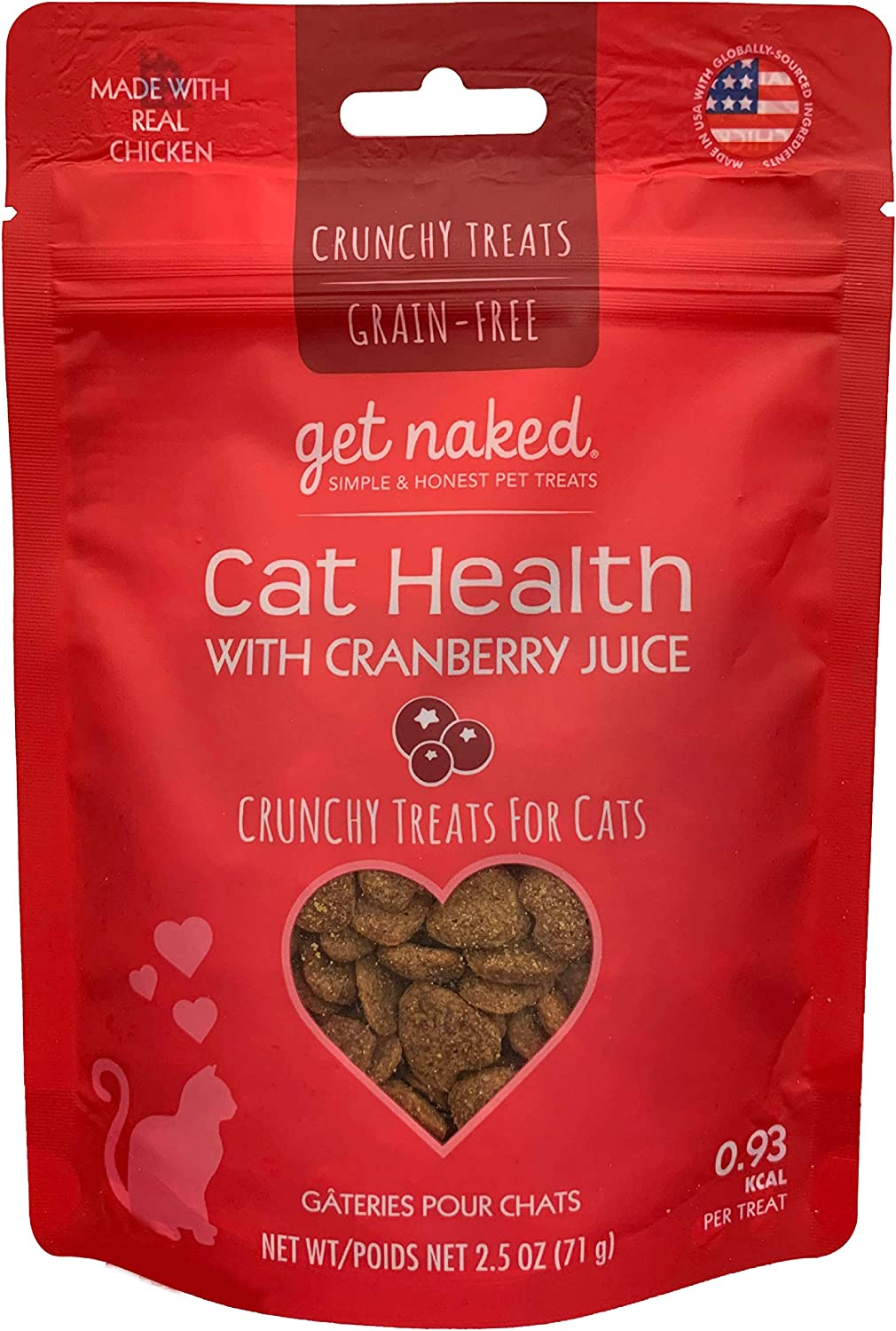Get Naked Urinary Health Crunchy Treats For Cats, Cranberries, (1 Pouch), 2.5 Oz