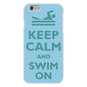Apple iPhone 6+ (Plus) Custom Case White Plastic Snap On - Keep Calm and Swim On Swimmer