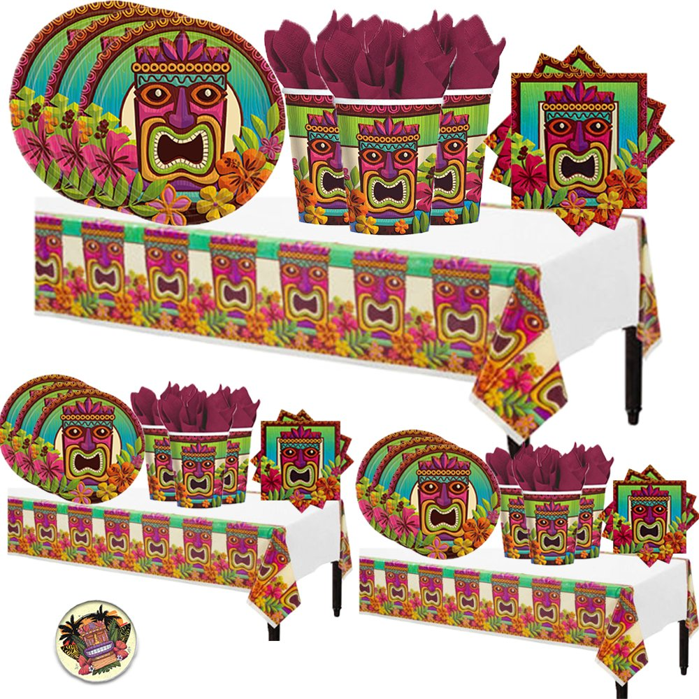 Tiki Tropical Luau Hawaiian Summer MEGA Deluxe 238 Piece Party Supply Pack for at least 50 Includes 60 Plates, 125 Napkins, 50 Cups, and 3 Tablecovers