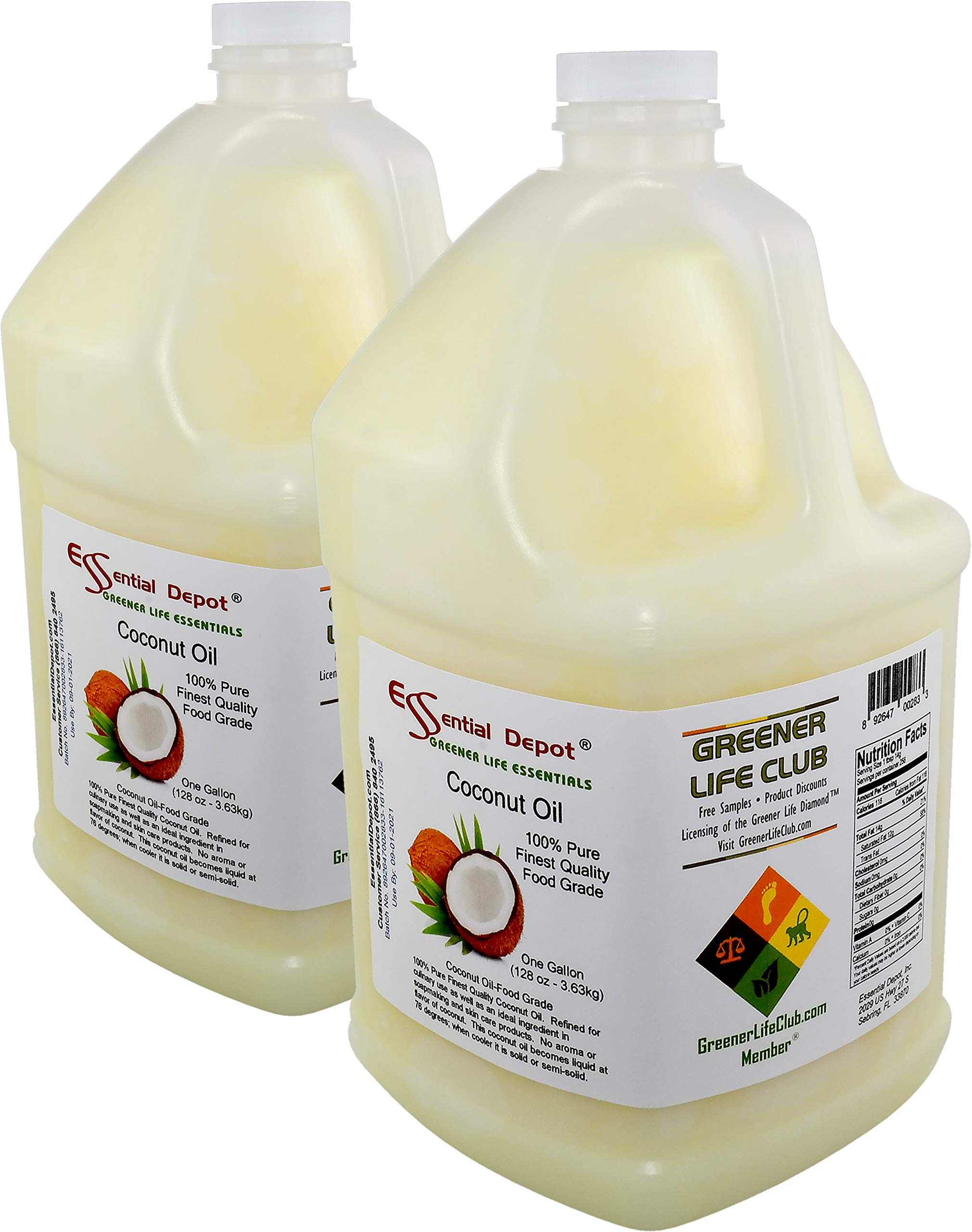 Coconut Oil - 2 Gallons - 2 x 1 Gallon Containers - Food Grade - safety sealed HDPE container with resealable cap by Essential Depot