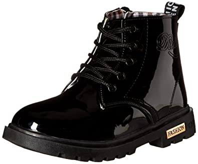 e7eef706e Maxu Fashion Girls Boys Black PU Waterproof Child Martin Boots,Little Kid,  1M US