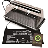"Super Sprouter HGC726402 Premium Propagation Kit with Heat Mat, 10"" x 20"" Tray, 7"" Dome & T5 Light, 5 Piece, Black/Clear"