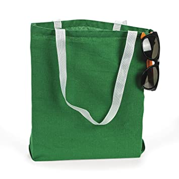 Amazon.com: Large Green Canvas Tote Bags (1 dz): Health & Personal ...