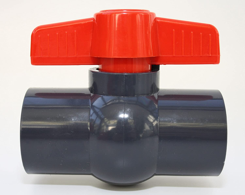 Kugelhahn 40mm mit 2 x Klebemuffe 1 1/4' aus PVC - U 10 bar DIN 8063 ERA