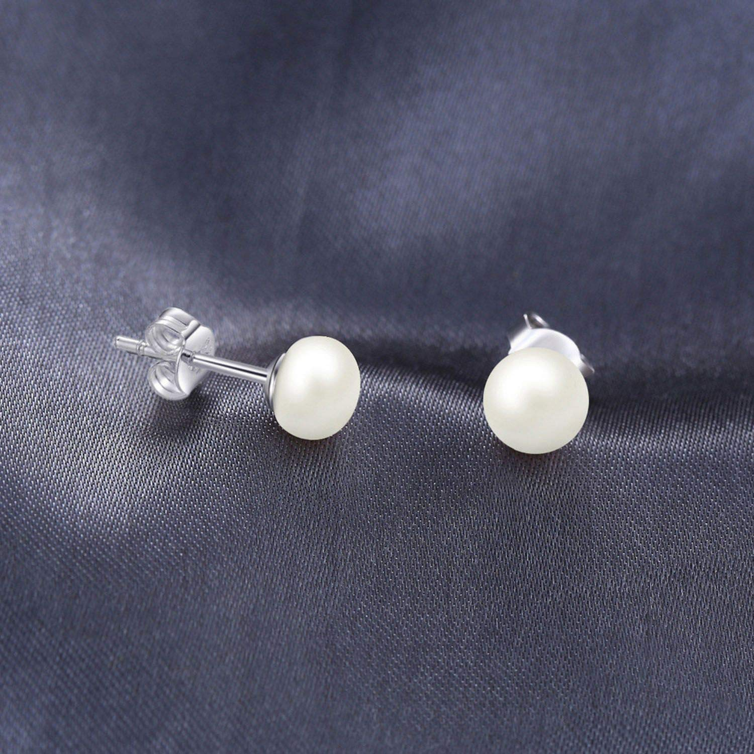 Natural Round Freshwater Pearl Stud Earrings Silver Earrings Jewelry For Women Girls Ladies