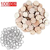 100 Wood Rounds and 100 Key Rings Wooden Circle Discs with Holes and Ring Clips for Birthday Board Tags, Homemade DIY Gifts,