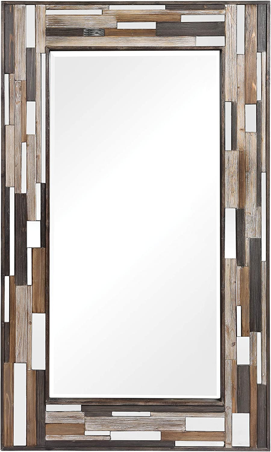 "MY SWANKY HOME Oversize Tiled Mirrored Frame Wall Mirror 75"" Full Length Rustic Mid Century"