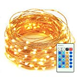 Amazon Price History for:LED String Lights, 33ft 100 LEDs Remote Control with Dimmable Amysen Complete Waterproof Decorative Lights for Bedroom, Patio, Wedding, Garden, Party (Warm White, Copper Wire Lights )