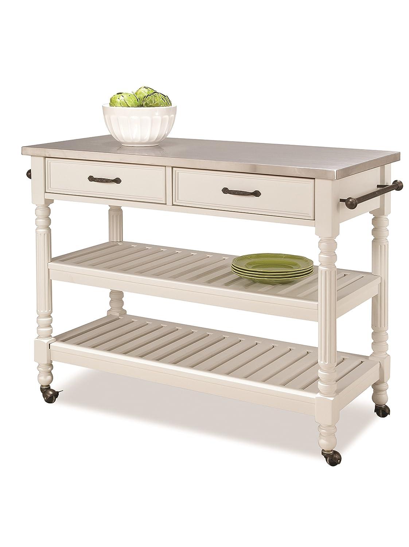 Amazon.com: Home Styles 5219-95 Savanna Kitchen Cart, White Finish ...