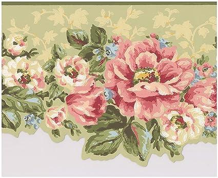Pink White Flowers Sage Green Floral Wallpaper Border Retro Design