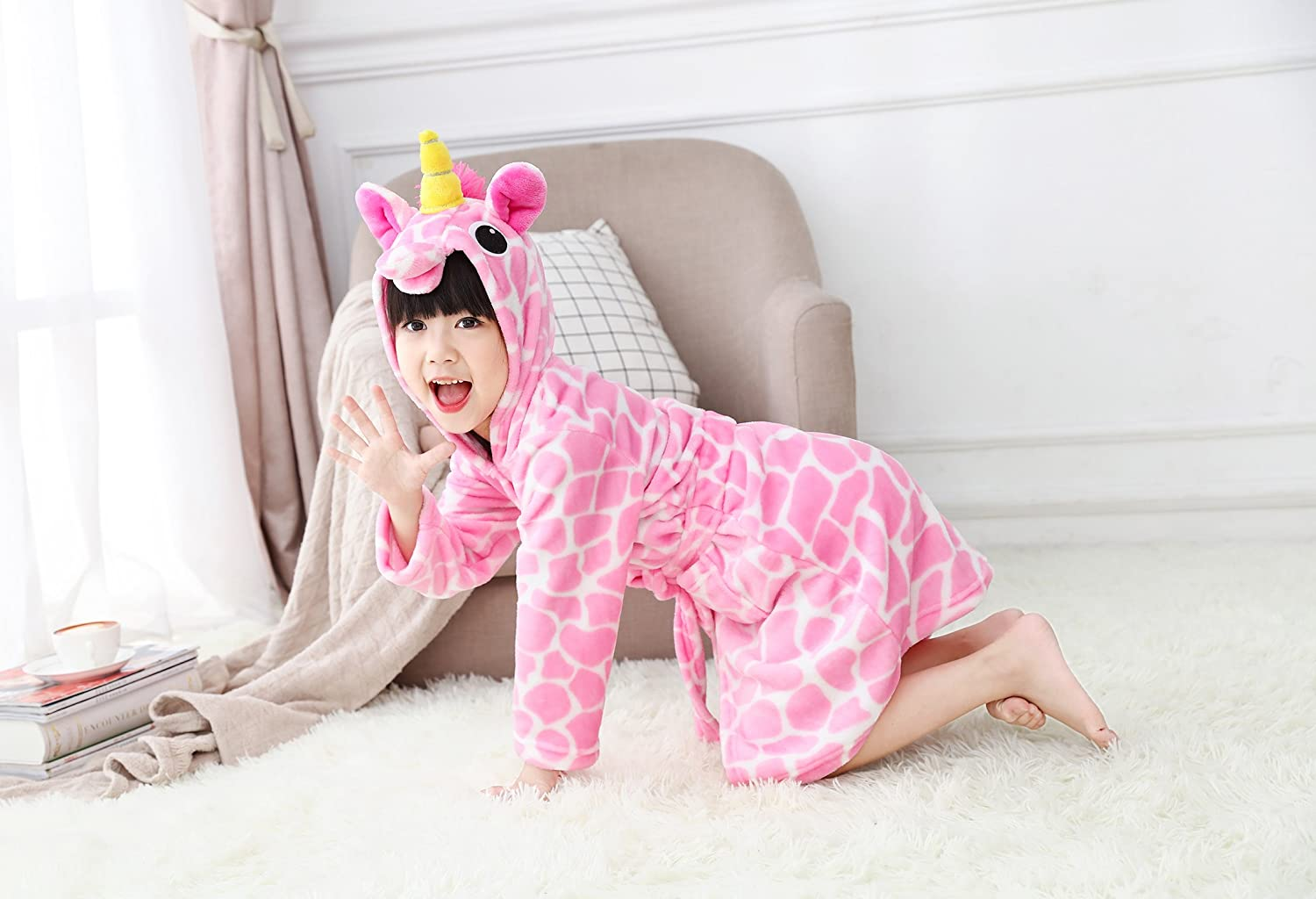 UsHigh Kids Unicorn Robe Girls Soft Plush Bathrobe Novelty Hooded Nightgown Gift
