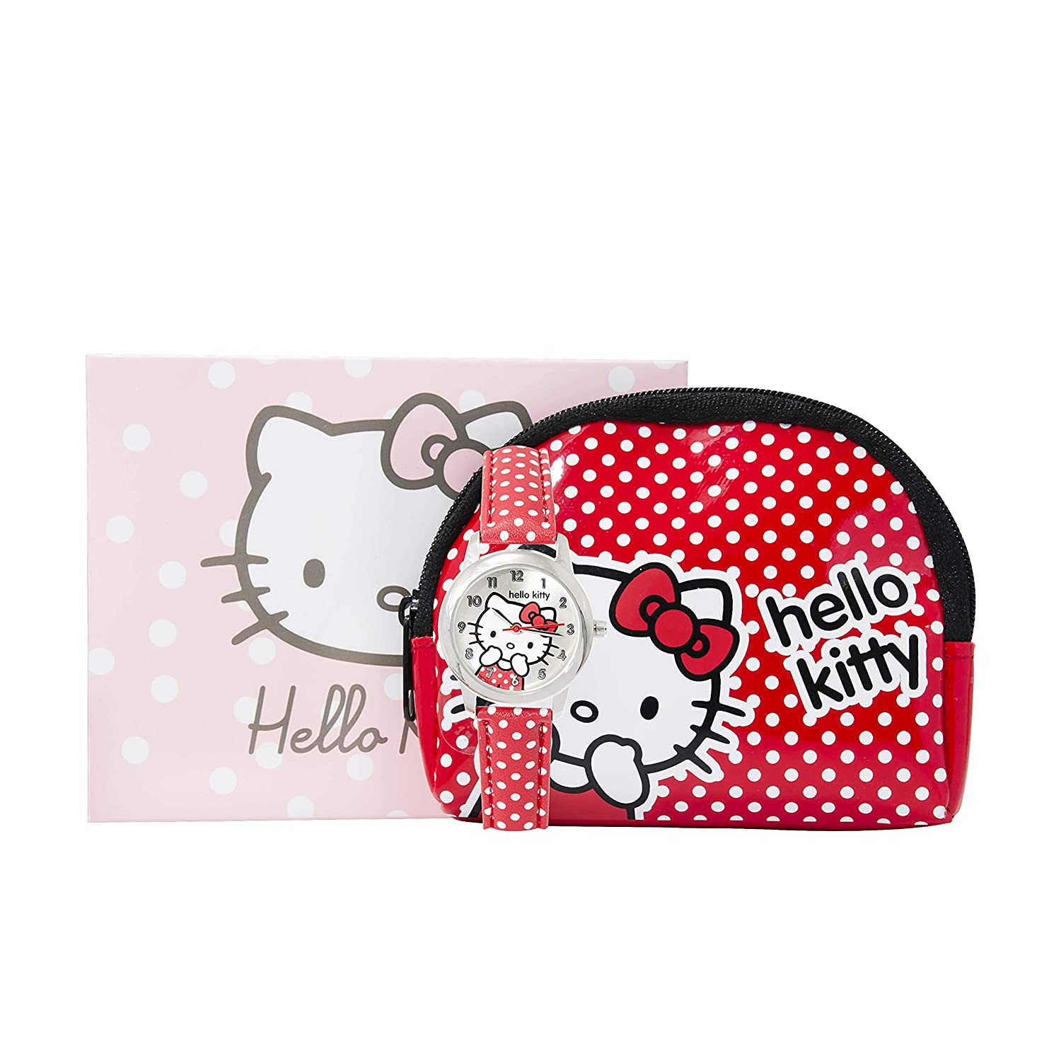 Coffret Montre Hello Kitty / Sanrio Rouge à pois - Bracelet cuir / Leather / Pochette - Pouch